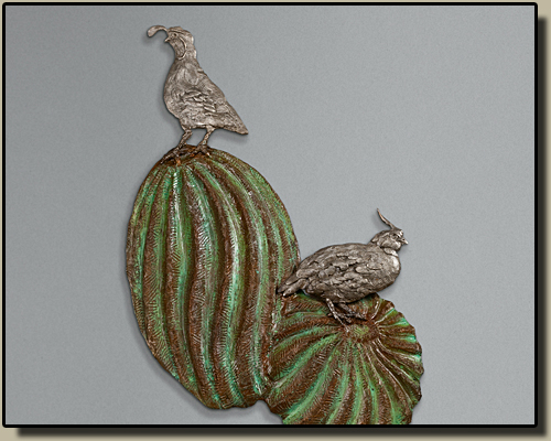 Quail on Barrel Cactus Relief